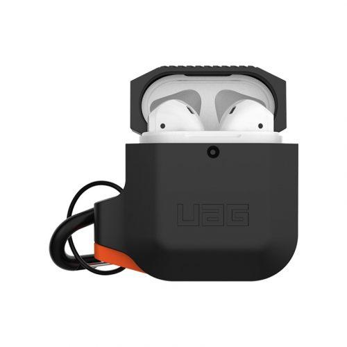 vo op airpods uag silicone rugged weatherproof black orange bengovn