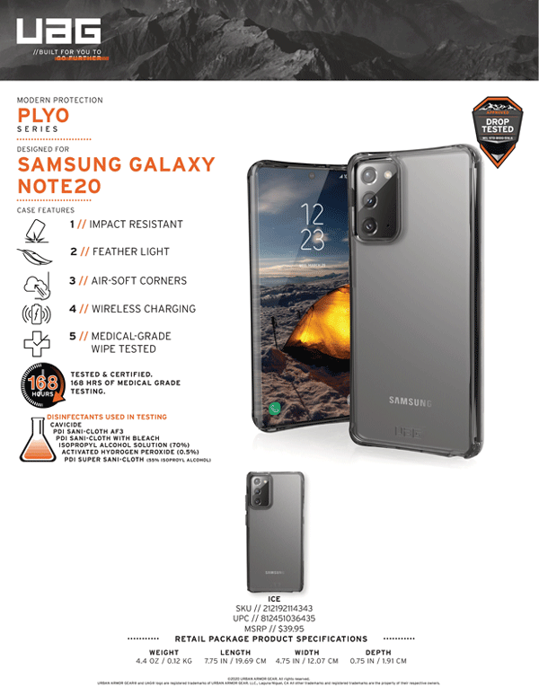 Op lung Samsung Galaxy Note 20 UAG Plyo Series 12 bengovn