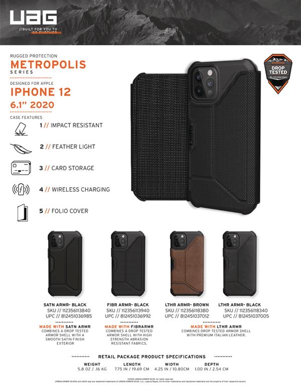 Bao da iPhone 12 12 Pro UAG Metropolis Series SATN Black 18 bengovn