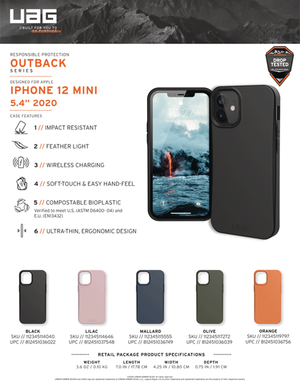 Op lung iPhone 12 Mini UAG Outback Bio Series 35 Bengovn
