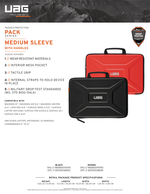 Tui chong soc Laptop 13 UAG Medium Sleeve With Handle 15 bengovn